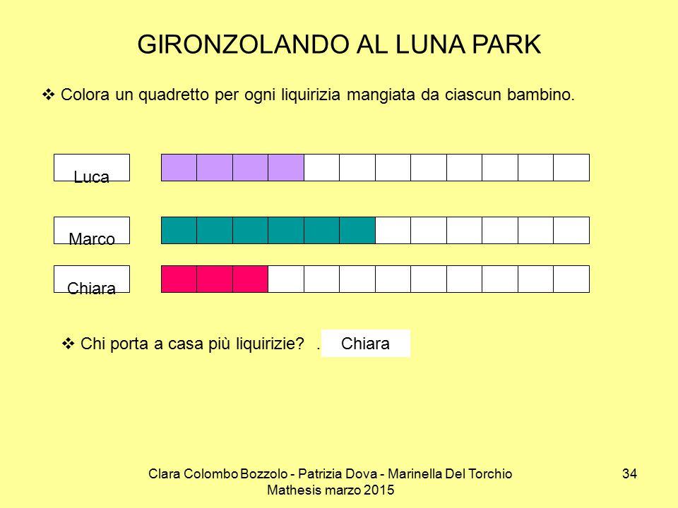 Clara Colombo Bozzolo - Patrizia Dova - Marinella Del Torchio Mathesis marzo 2015 GIRONZOLANDO AL LUNA PARK  Colora un quadretto per ogni liquirizia