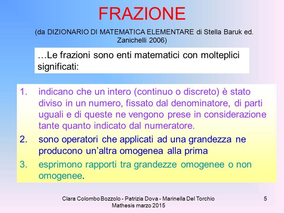 Clara Colombo Bozzolo - Patrizia Dova - Marinella Del Torchio Mathesis marzo 2015 FRAZIONE (da DIZIONARIO DI MATEMATICA ELEMENTARE di Stella Baruk ed.