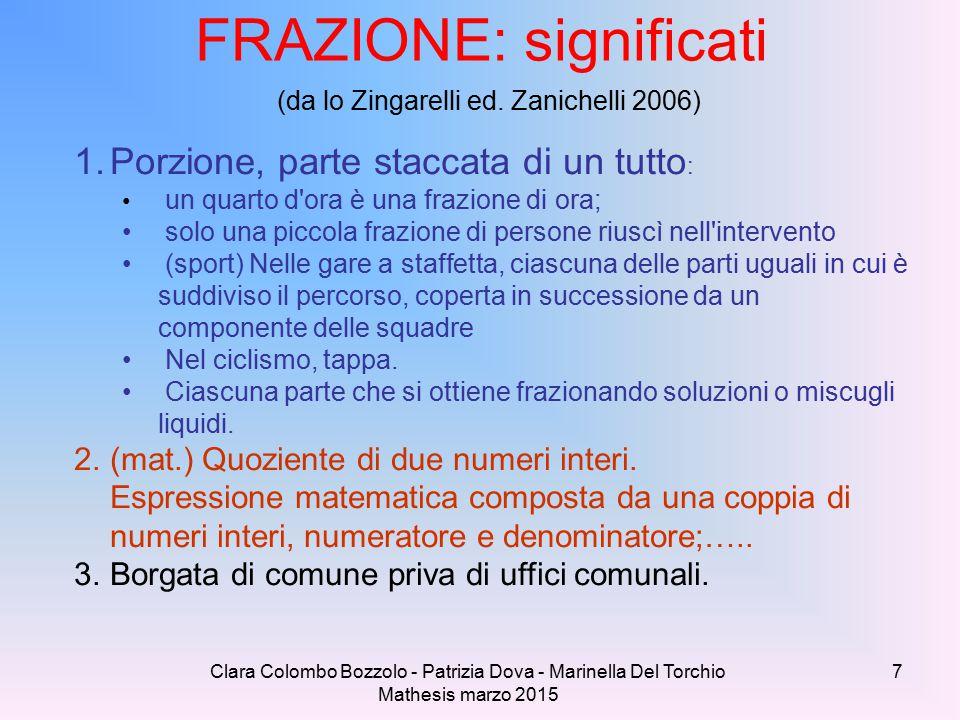 Clara Colombo Bozzolo - Patrizia Dova - Marinella Del Torchio Mathesis marzo 2015 FRAZIONE: significati (da lo Zingarelli ed. Zanichelli 2006) 1.Porzi