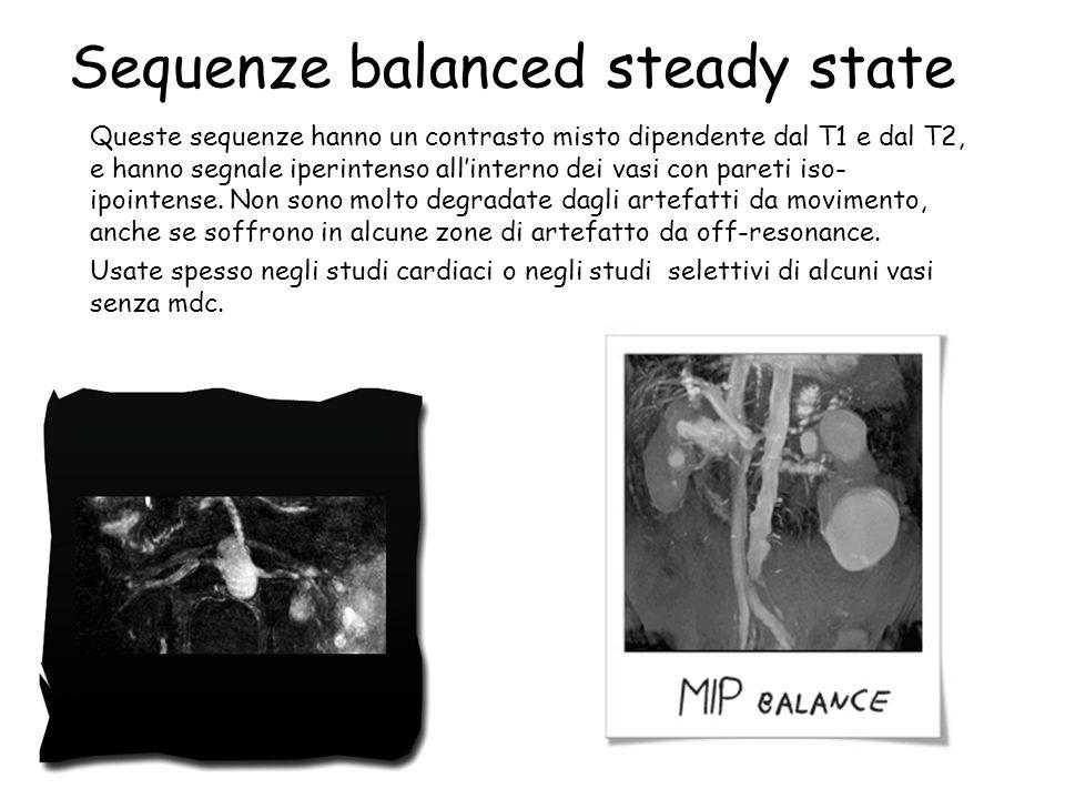 Sequenze balanced steady state Queste sequenze hanno un contrasto misto dipendente dal T1 e dal T2, e hanno segnale iperintenso all'interno dei vasi c