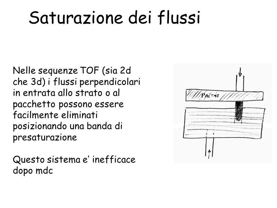Saturazione dei flussi Nelle sequenze TOF (sia 2d che 3d) i flussi perpendicolari in entrata allo strato o al pacchetto possono essere facilmente elim