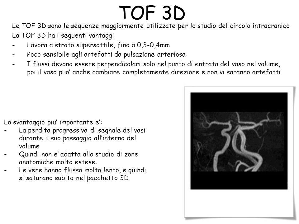 TOF 3D Le TOF 3D sono le sequenze maggiormente utilizzate per lo studio del circolo intracranico La TOF 3D ha i seguenti vantaggi -Lavora a strato sup
