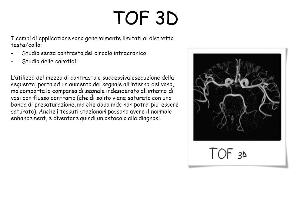 TOF 3D I campi di applicazione sono generalmente limitati al distretto testa/collo: -Studio senza contrasto del circolo intracranico -Studio delle car