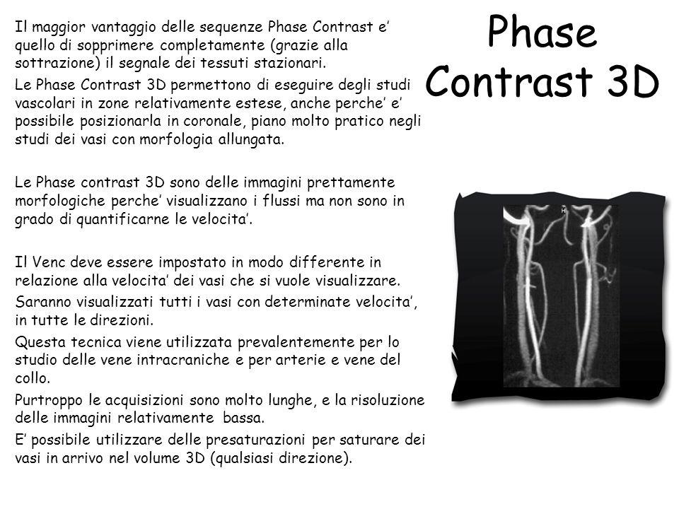 Phase Contrast 3D Il maggior vantaggio delle sequenze Phase Contrast e' quello di sopprimere completamente (grazie alla sottrazione) il segnale dei te
