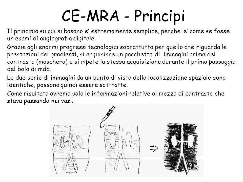 CE-MRA - Principi Il principio su cui si basano e' estremamente semplice, perche' e' come se fosse un esami di angiografia digitale. Grazie agli enorm