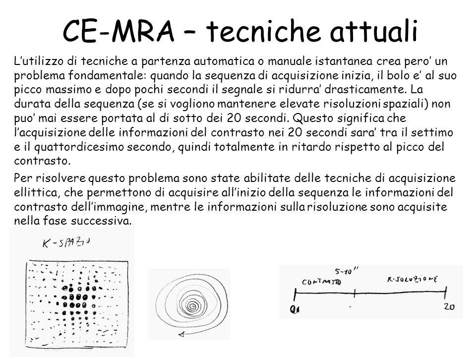 CE-MRA – tecniche attuali L'utilizzo di tecniche a partenza automatica o manuale istantanea crea pero' un problema fondamentale: quando la sequenza di