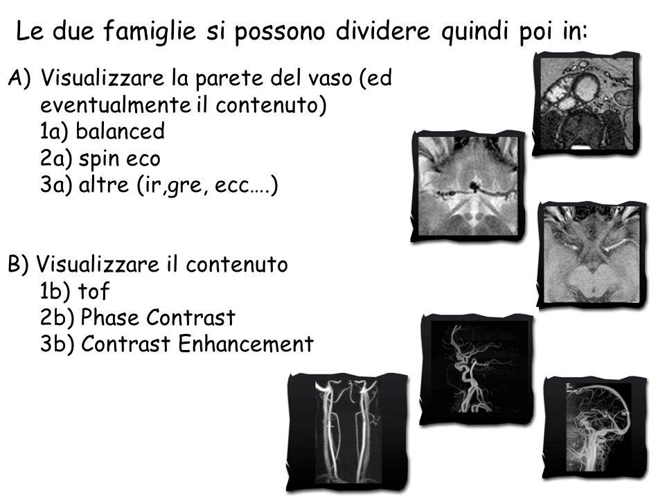 Sequenze per lo studio dei vasi Non propriamente «angiografiche»
