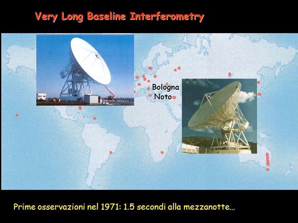 Very Long Baseline Interferometry Bologna Noto Prime osservazioni nel 1971: 1.5 secondi alla mezzanotte…