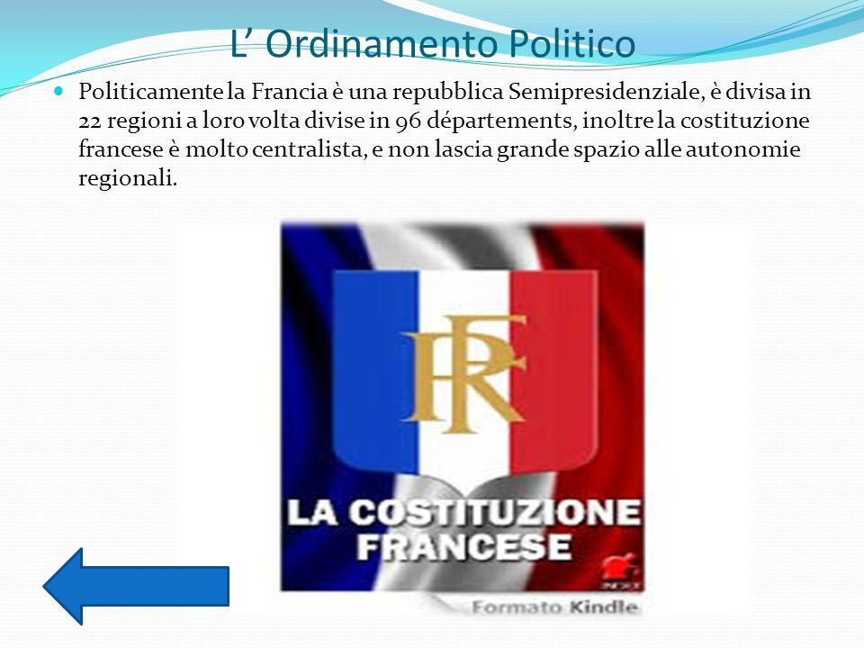 L' Ordinamento Politico Politicamente la Francia è una repubblica Semipresidenziale, è divisa in 22 regioni a loro volta divise in 96 départements, inoltre la costituzione francese è molto centralista, e non lascia grande spazio alle autonomie regionali.