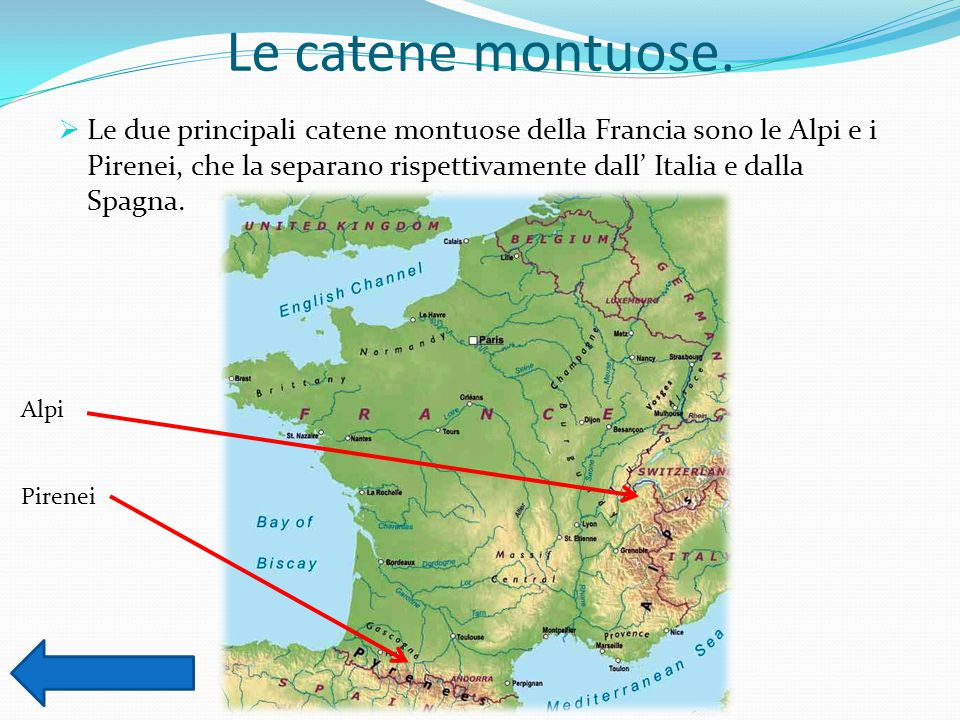 Le catene montuose.  Le due principali catene montuose della Francia sono le Alpi e i Pirenei, che la separano rispettivamente dall' Italia e dalla S