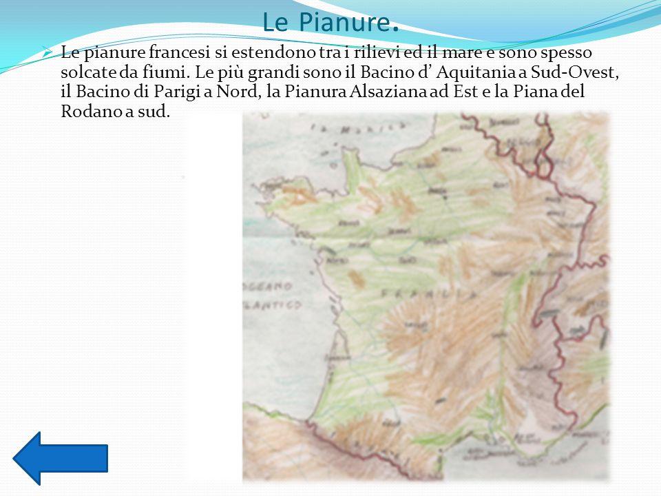 Le Pianure.  Le pianure francesi si estendono tra i rilievi ed il mare e sono spesso solcate da fiumi. Le più grandi sono il Bacino d' Aquitania a Su