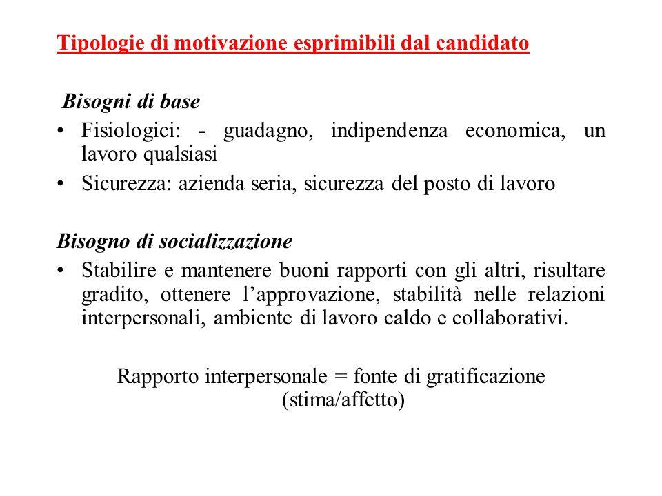 Tipologie di motivazione esprimibili dal candidato Bisogni di base Fisiologici: - guadagno, indipendenza economica, un lavoro qualsiasi Sicurezza: azi