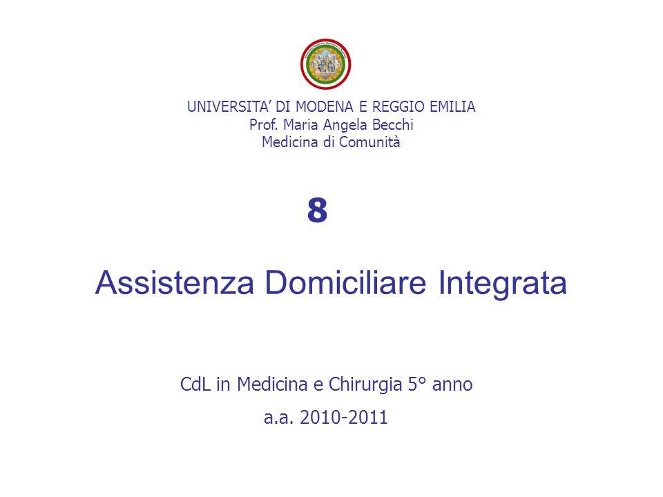 UNIVERSITA' DI MODENA E REGGIO EMILIA Prof. Maria Angela Becchi Medicina di Comunità Assistenza Domiciliare Integrata CdL in Medicina e Chirurgia 5° a