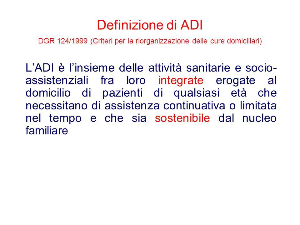 Definizione di ADI DGR 124/1999 (Criteri per la riorganizzazione delle cure domiciliari) L'ADI è l'insieme delle attività sanitarie e socio- assistenz