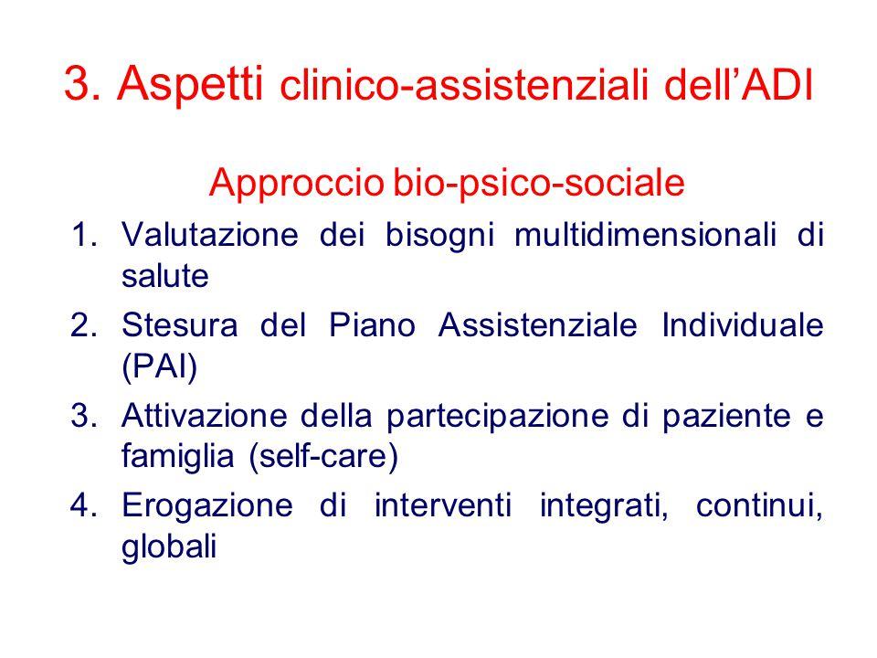 3. Aspetti clinico-assistenziali dell'ADI Approccio bio-psico-sociale 1.Valutazione dei bisogni multidimensionali di salute 2.Stesura del Piano Assist
