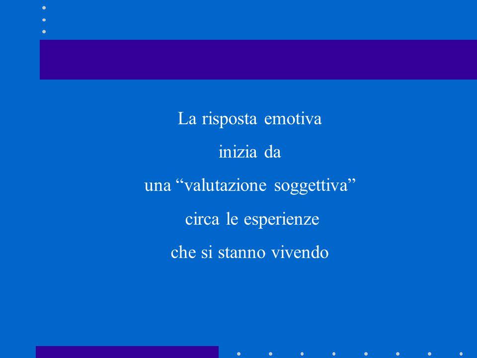La risposta emotiva inizia da una valutazione soggettiva circa le esperienze che si stanno vivendo