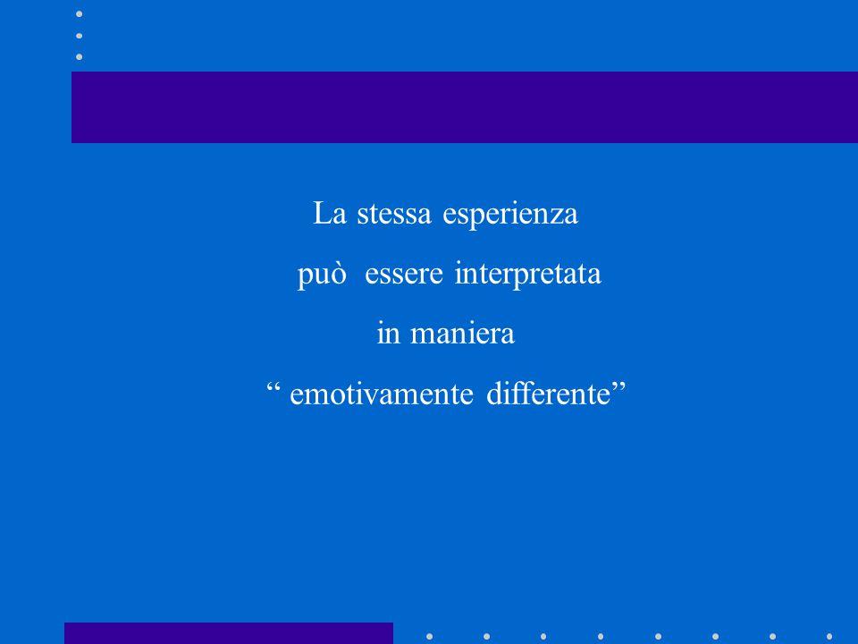 """La stessa esperienza può essere interpretata in maniera """" emotivamente differente"""""""