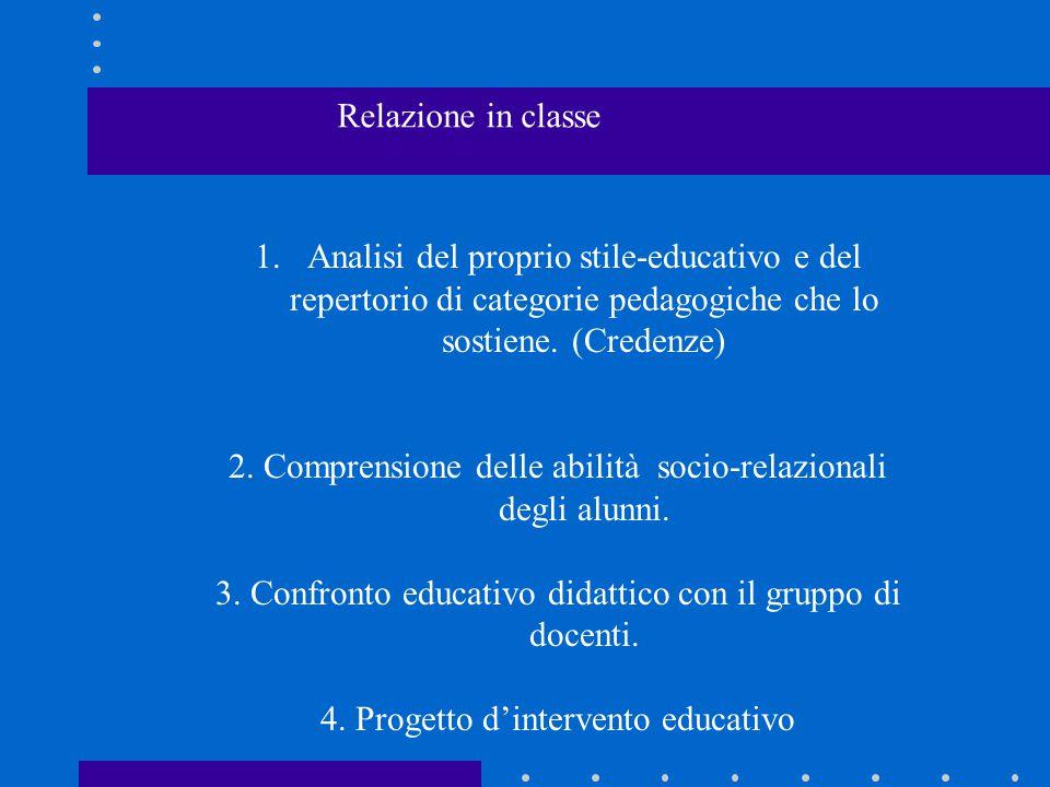 1.Analisi del proprio stile-educativo e del repertorio di categorie pedagogiche che lo sostiene. (Credenze) 2. Comprensione delle abilità socio-relazi