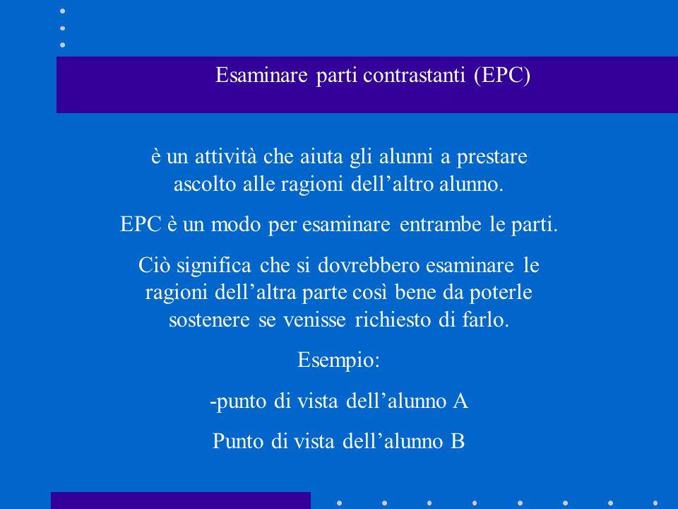 Esaminare parti contrastanti (EPC) è un attività che aiuta gli alunni a prestare ascolto alle ragioni dell'altro alunno. EPC è un modo per esaminare e