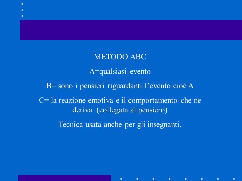 METODO ABC A=qualsiasi evento B= sono i pensieri riguardanti l'evento cioè A C= la reazione emotiva e il comportamento che ne deriva. (collegata al pe