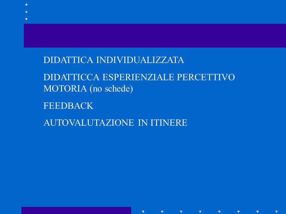 DIDATTICA INDIVIDUALIZZATA DIDATTICCA ESPERIENZIALE PERCETTIVO MOTORIA (no schede) FEEDBACK AUTOVALUTAZIONE IN ITINERE