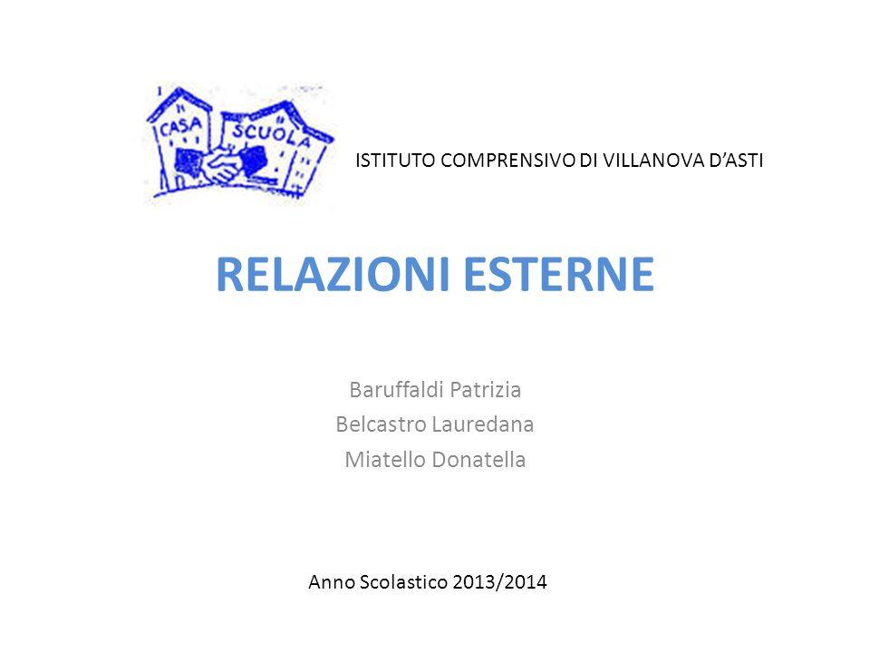 RELAZIONI ESTERNE Baruffaldi Patrizia Belcastro Lauredana Miatello Donatella Anno Scolastico 2013/2014 ISTITUTO COMPRENSIVO DI VILLANOVA D'ASTI