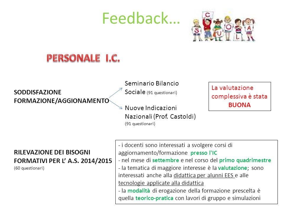 Feedback… SODDISFAZIONE FORMAZIONE/AGGIONAMENTO Seminario Bilancio Sociale (91 questionari) Nuove Indicazioni Nazionali (Prof.