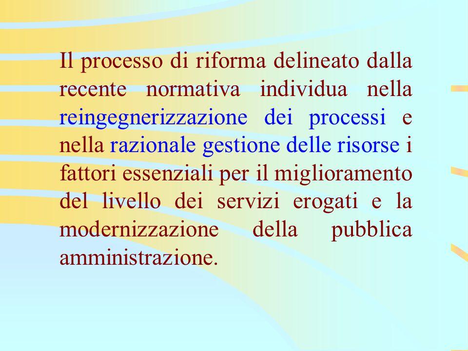 Il processo di riforma delineato dalla recente normativa individua nella reingegnerizzazione dei processi e nella razionale gestione delle risorse i fattori essenziali per il miglioramento del livello dei servizi erogati e la modernizzazione della pubblica amministrazione.