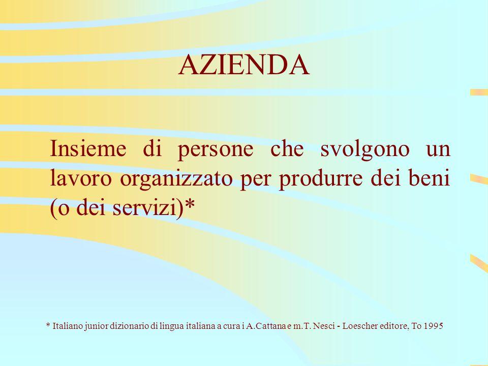 AZIENDA Insieme di persone che svolgono un lavoro organizzato per produrre dei beni (o dei servizi)* * Italiano junior dizionario di lingua italiana a cura i A.Cattana e m.T.