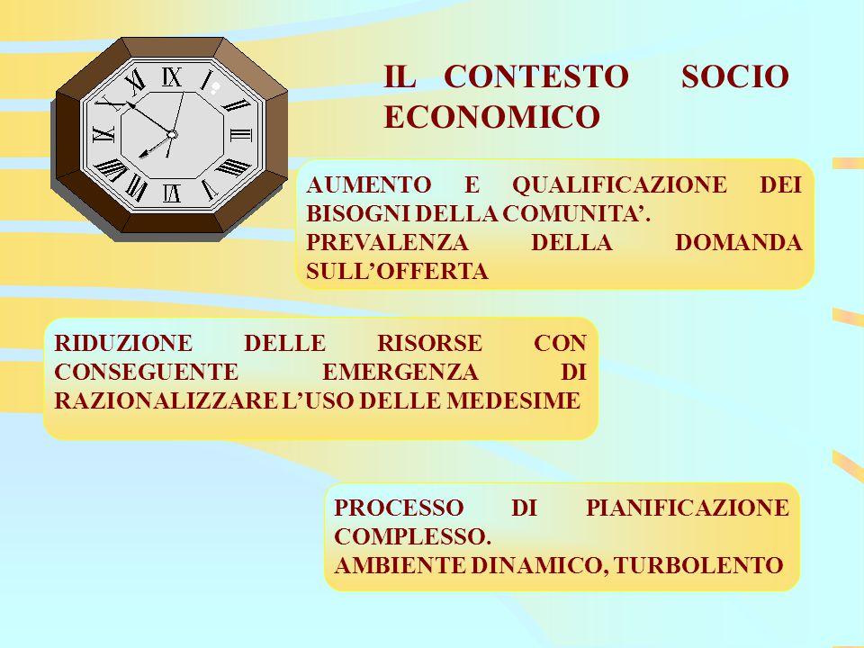 IL CONTESTO SOCIO ECONOMICO AUMENTO E QUALIFICAZIONE DEI BISOGNI DELLA COMUNITA'.