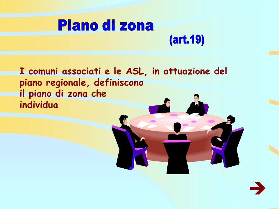I comuni associati e le ASL, in attuazione del piano regionale, definiscono il piano di zona che individua 