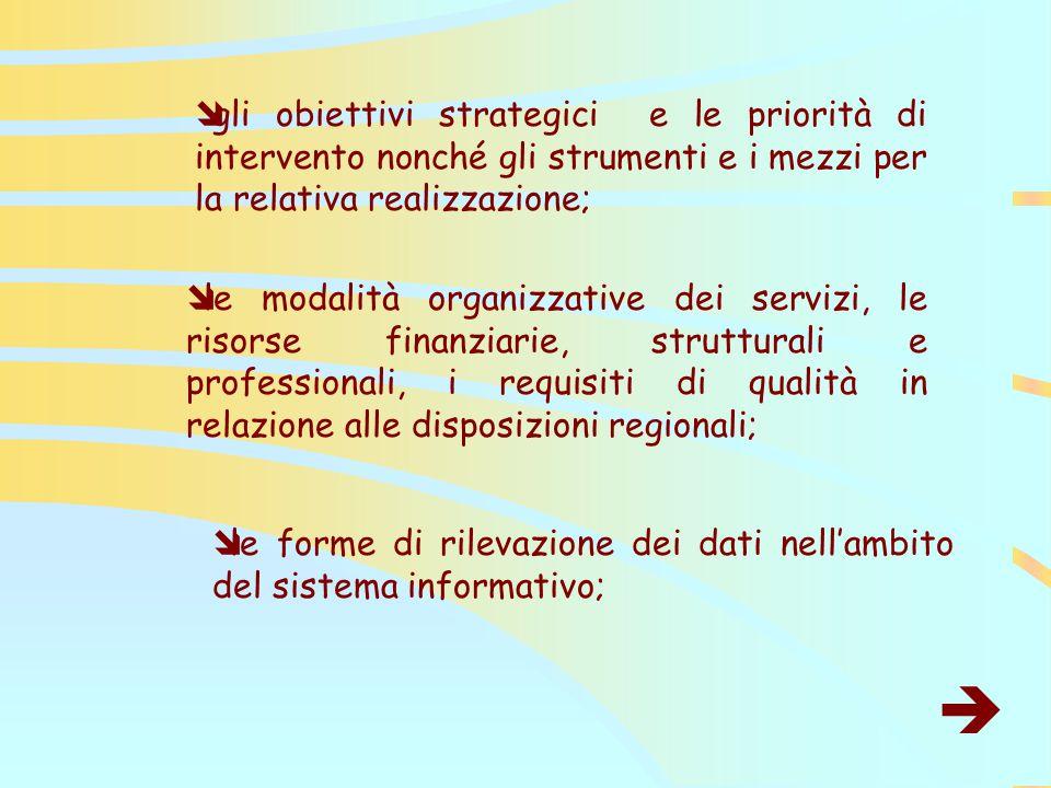  gli obiettivi strategici e le priorità di intervento nonché gli strumenti e i mezzi per la relativa realizzazione;  le modalità organizzative dei servizi, le risorse finanziarie, strutturali e professionali, i requisiti di qualità in relazione alle disposizioni regionali;  le forme di rilevazione dei dati nell'ambito del sistema informativo; 