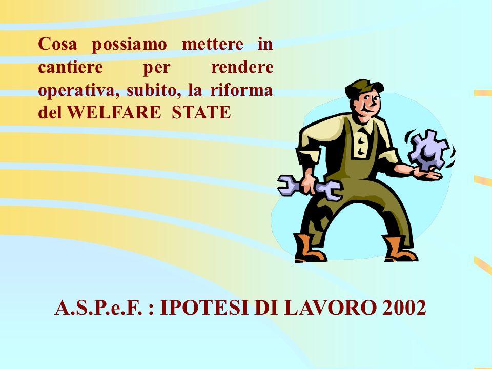 Cosa possiamo mettere in cantiere per rendere operativa, subito, la riforma del WELFARE STATE A.S.P.e.F.