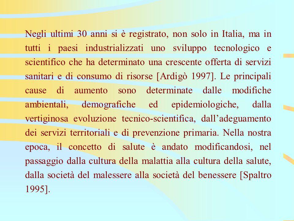 Negli ultimi 30 anni si è registrato, non solo in Italia, ma in tutti i paesi industrializzati uno sviluppo tecnologico e scientifico che ha determinato una crescente offerta di servizi sanitari e di consumo di risorse [Ardigò 1997].