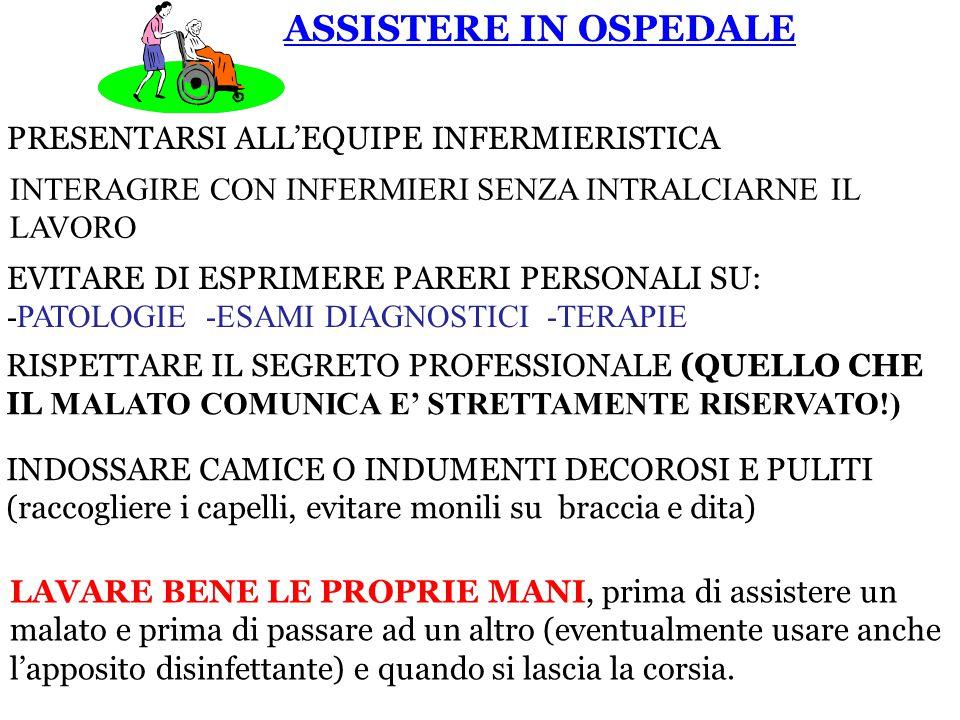 ASSISTERE IN OSPEDALE PRESENTARSI ALL'EQUIPE INFERMIERISTICA INTERAGIRE CON INFERMIERI SENZA INTRALCIARNE IL LAVORO EVITARE DI ESPRIMERE PARERI PERSON