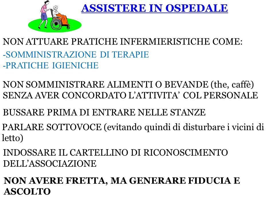 ASSISTERE IN OSPEDALE NON ATTUARE PRATICHE INFERMIERISTICHE COME: -SOMMINISTRAZIONE DI TERAPIE -PRATICHE IGIENICHE NON SOMMINISTRARE ALIMENTI O BEVANDE (the, caffè) SENZA AVER CONCORDATO L'ATTIVITA' COL PERSONALE BUSSARE PRIMA DI ENTRARE NELLE STANZE PARLARE SOTTOVOCE (evitando quindi di disturbare i vicini di letto) NON AVERE FRETTA, MA GENERARE FIDUCIA E ASCOLTO