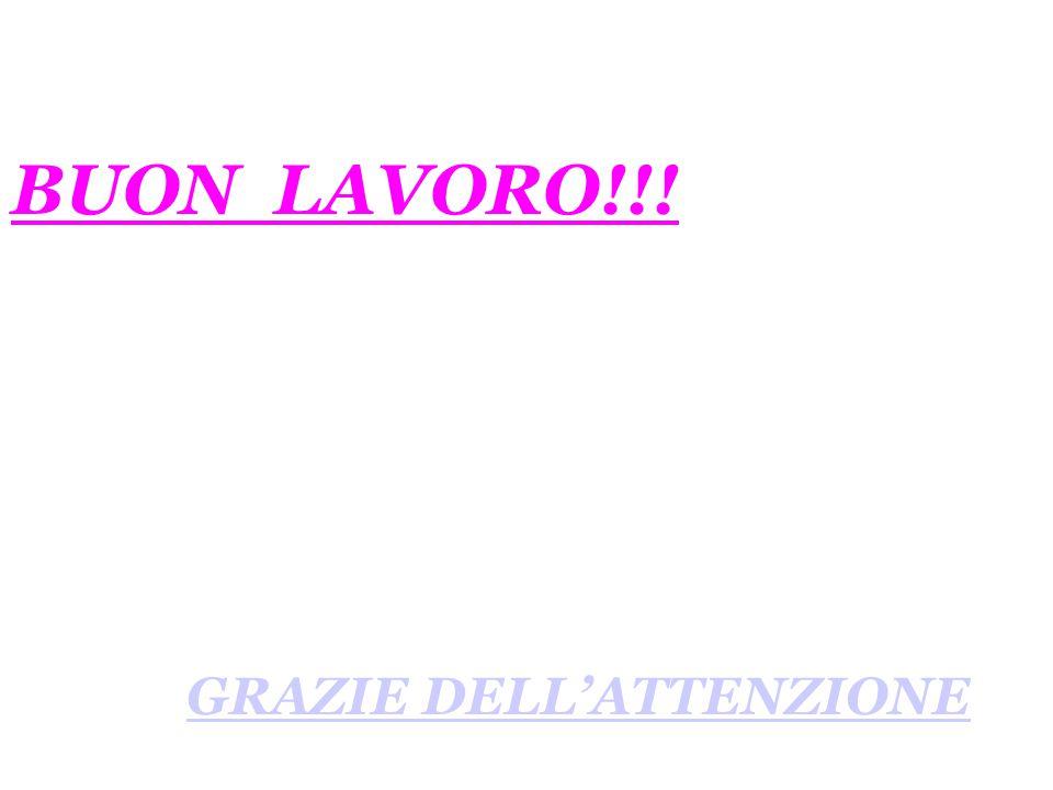 BUON LAVORO!!! GRAZIE DELL'ATTENZIONE