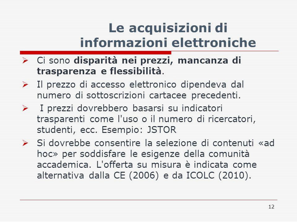 Le acquisizioni di informazioni elettroniche  Ci sono disparità nei prezzi, mancanza di trasparenza e flessibilità.
