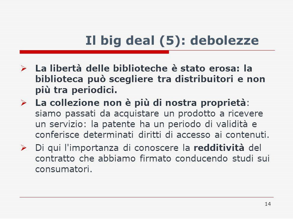 Il big deal (5): debolezze  La libertà delle biblioteche è stato erosa: la biblioteca può scegliere tra distribuitori e non più tra periodici.