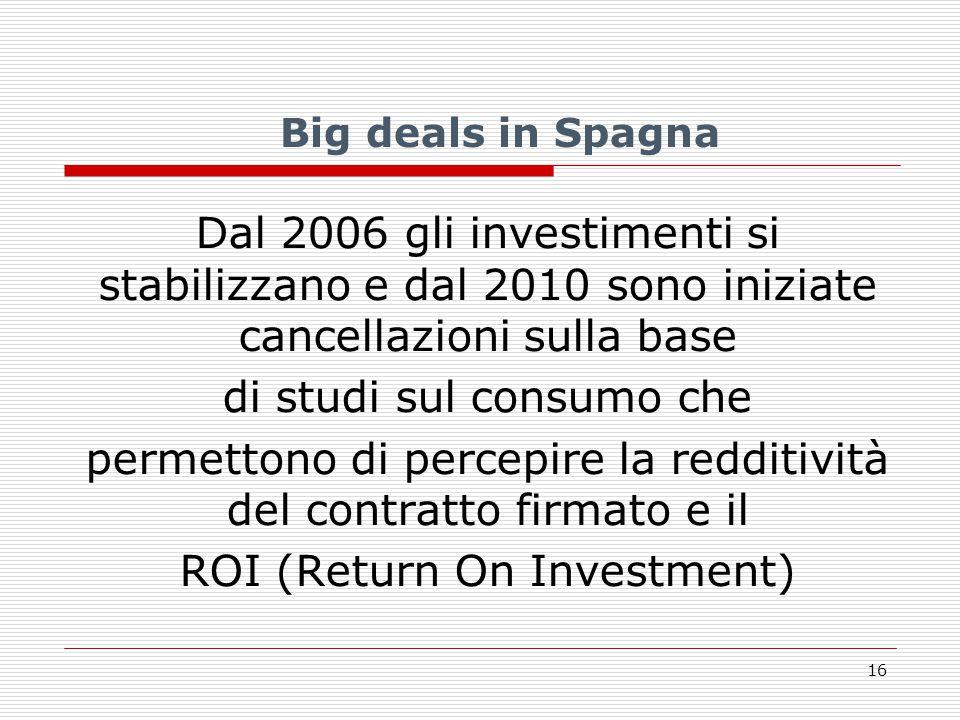 Big deals in Spagna Dal 2006 gli investimenti si stabilizzano e dal 2010 sono iniziate cancellazioni sulla base di studi sul consumo che permettono di percepire la redditività del contratto firmato e il ROI (Return On Investment) 16