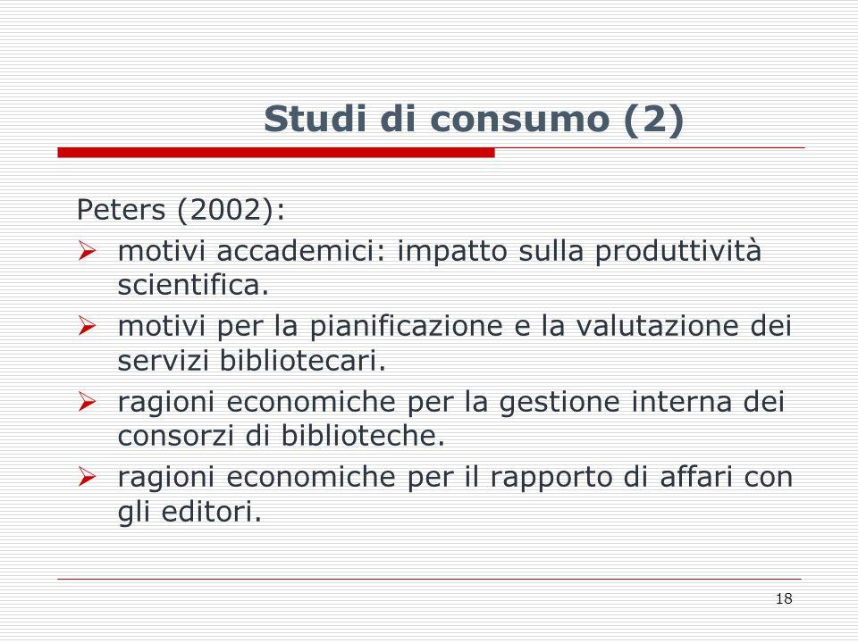 Studi di consumo (2) Peters (2002):  motivi accademici: impatto sulla produttività scientifica.