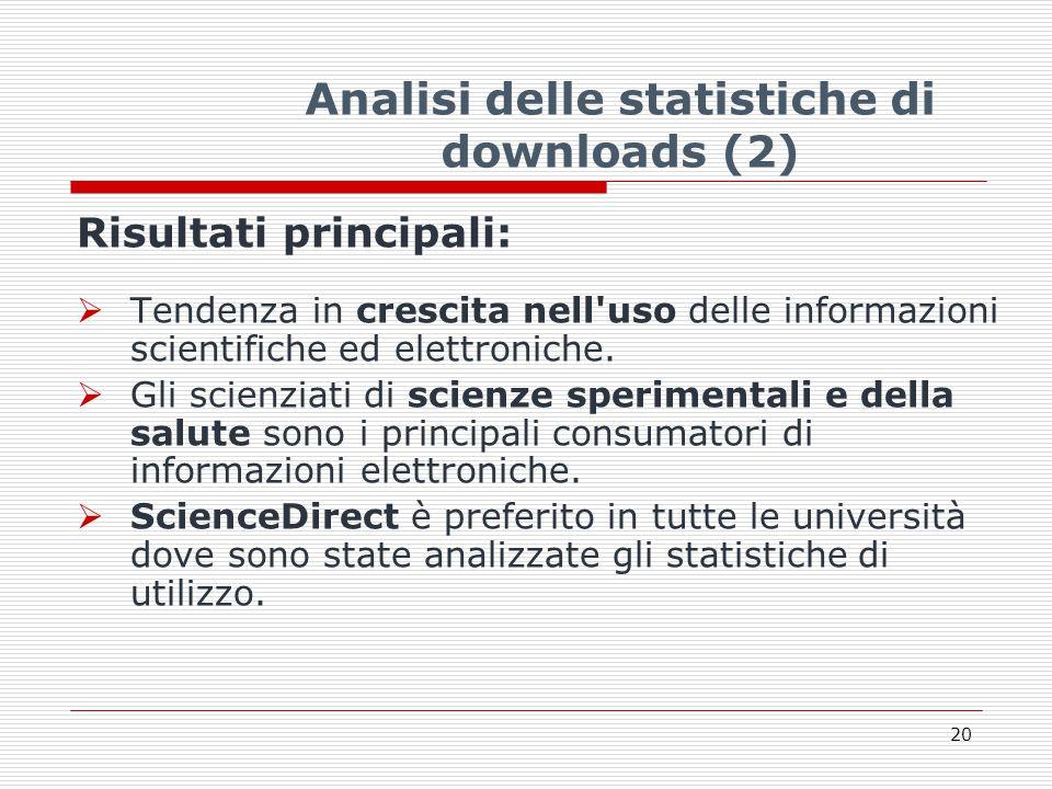 Analisi delle statistiche di downloads (2) Risultati principali:  Tendenza in crescita nell uso delle informazioni scientifiche ed elettroniche.