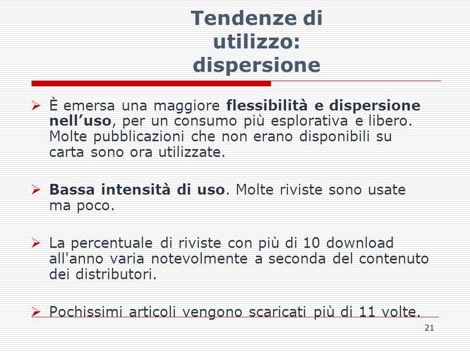 Tendenze di utilizzo: dispersione  È emersa una maggiore flessibilità e dispersione nell'uso, per un consumo più esplorativa e libero.