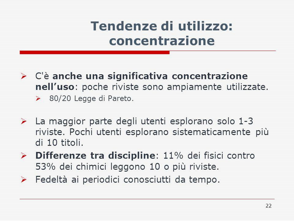 Tendenze di utilizzo: concentrazione  C è anche una significativa concentrazione nell'uso: poche riviste sono ampiamente utilizzate.