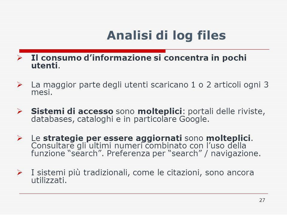 Analisi di log files  Il consumo d'informazione si concentra in pochi utenti.