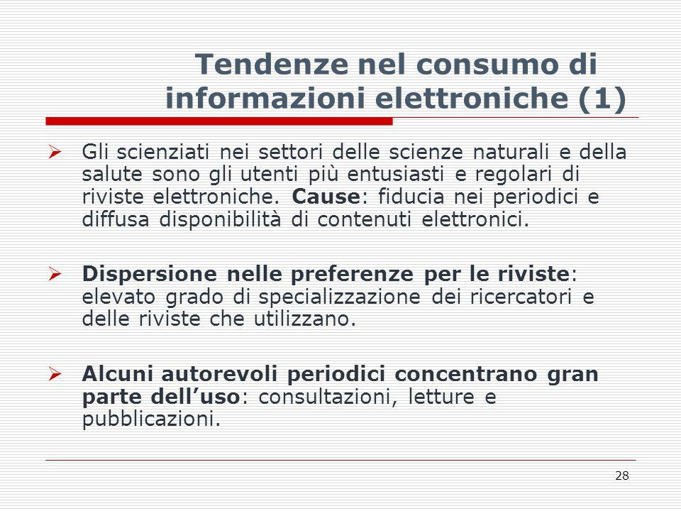 Tendenze nel consumo di informazioni elettroniche (1)  Gli scienziati nei settori delle scienze naturali e della salute sono gli utenti più entusiasti e regolari di riviste elettroniche.