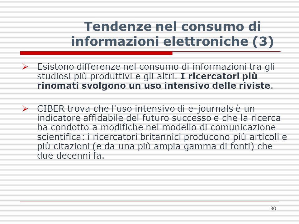 Tendenze nel consumo di informazioni elettroniche (3)  Esistono differenze nel consumo di informazioni tra gli studiosi più produttivi e gli altri.