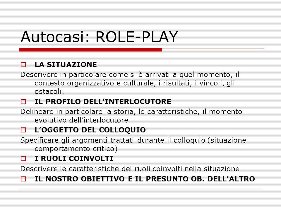 Autocasi: ROLE-PLAY  LA SITUAZIONE Descrivere in particolare come si è arrivati a quel momento, il contesto organizzativo e culturale, i risultati, i vincoli, gli ostacoli.