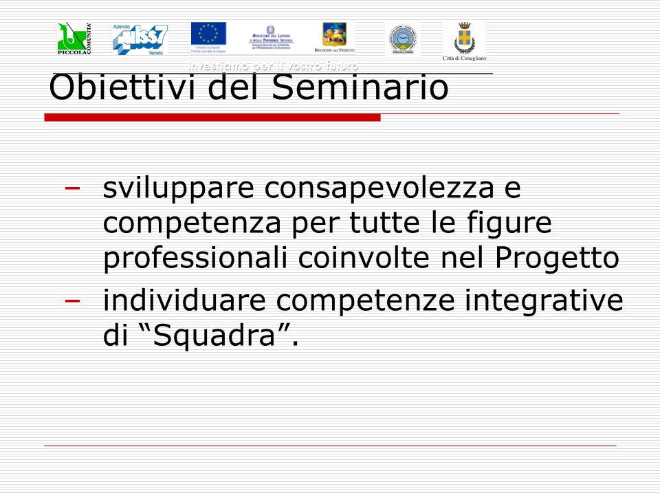Obiettivi del Seminario –sviluppare consapevolezza e competenza per tutte le figure professionali coinvolte nel Progetto –individuare competenze integrative di Squadra .