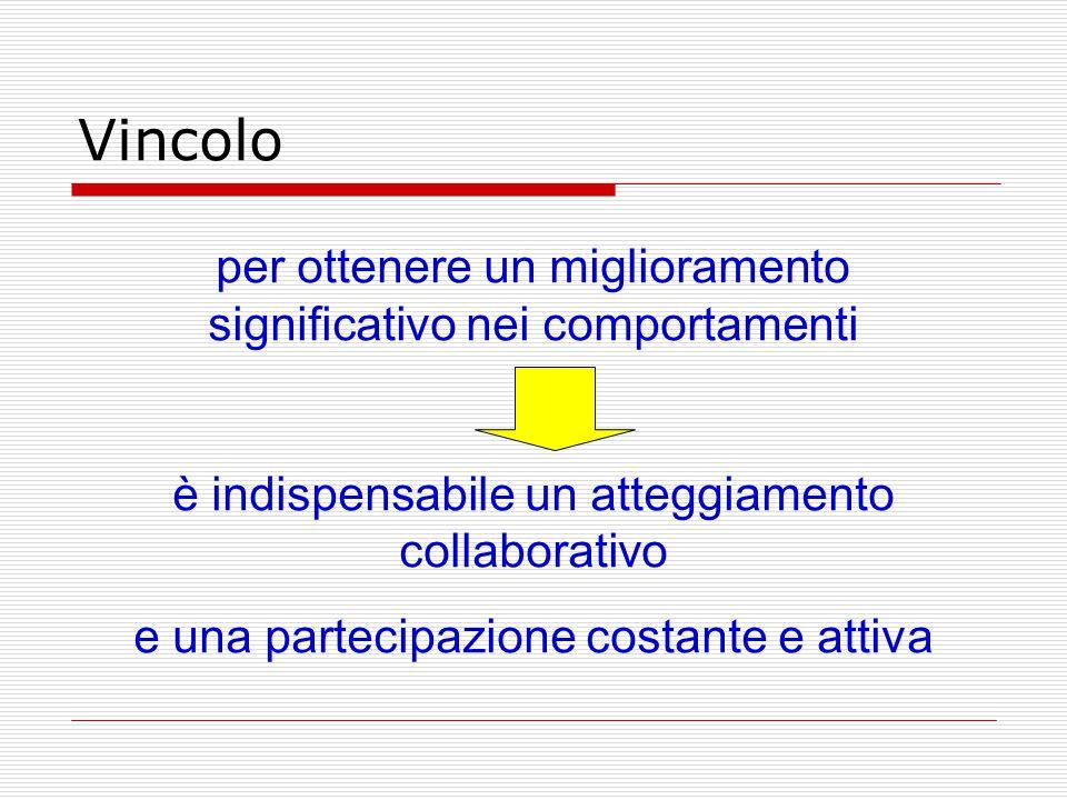Vincolo per ottenere un miglioramento significativo nei comportamenti è indispensabile un atteggiamento collaborativo e una partecipazione costante e